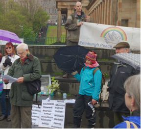 Alan Davies at the Conscientious Objectors Day Vigil.  Photo Credit : Brian Larkin