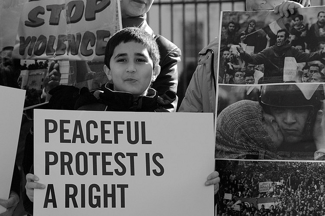 a comparison of peaceful and violent protests Nonviolent resistance (nvr or nonviolent action) is the practice of achieving goals such as social change through symbolic protests, civil disobedience, economic or political noncooperation, satyagraha, or other methods, while being nonviolent.