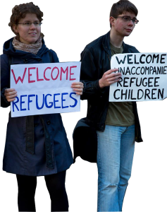 Refugees signs