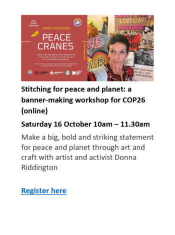 poster for Stitching for Peace and Planet online event