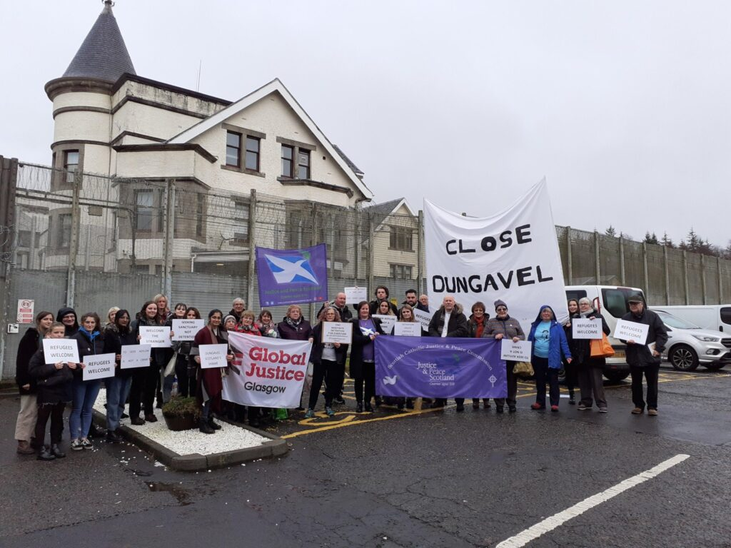 protestors outside Dungavel detention centre calling for its closure